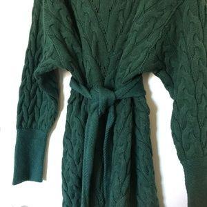 Free People Green heavy-knit sweater dress